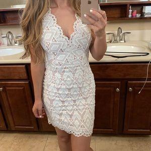 Aqua white lace dress xs